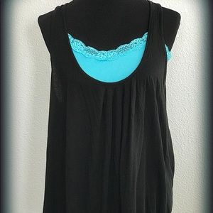 Black Loose fitting Racer Back Tank Top